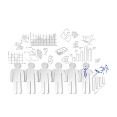 Business charts teamwork  and team outsider vector