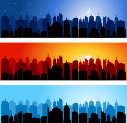 Set of city skyline