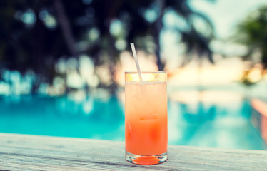 cocktail drink on tropical beach