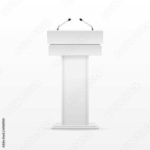 White Podium Tribune Rostrum Stand with Microphone - 69689161