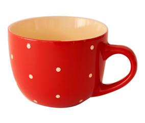 Red polka dot mug on a white background
