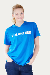 Studio Portrait Of Woman Wearing Volunteer T Shirt