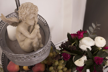 angel, fruits, flowers, candle