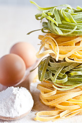 italian pasta tagliatelli, flour and eggs