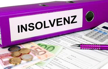 Insolvenz Ordner mit Geld und Taschenrechner, lila