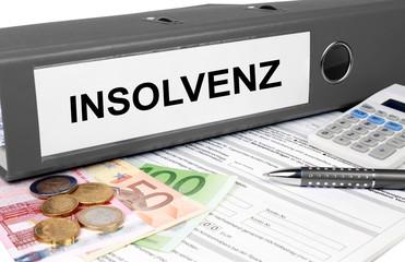 Insolvenz Ordner mit Geld und Taschenrechner, grau