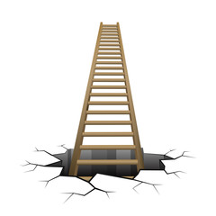 wooden ladder rising from cracked surface