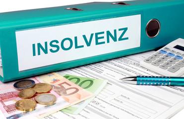 Insolvenz Ordner mit Geld und Taschenrechner, türkis