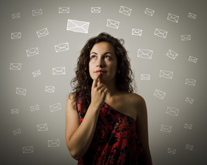 Young woman and letters.
