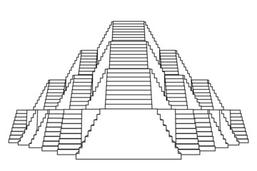 pyramid design construction front view line drawing