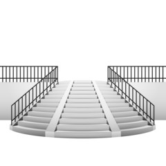 circular staircase with handrail on white background