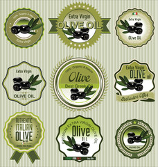 Black olive labels, collection