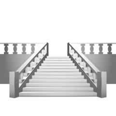 baroque staircase with balustrade on white background