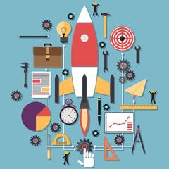 Startup flat vector illustration