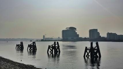 Old boat moorings at entrance to the bay