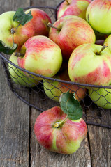 apples in a basket on wooden surface