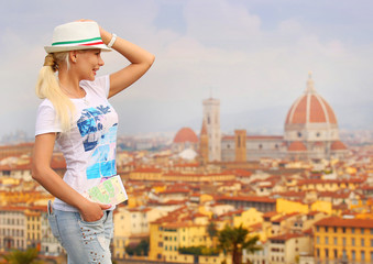 Happy Tourist in Florence. Young Blonde Woman with Map