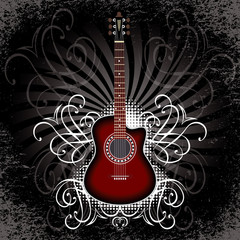 banner with acoustic guitar on black background