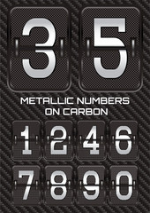 set of metallic numbers on carbon background