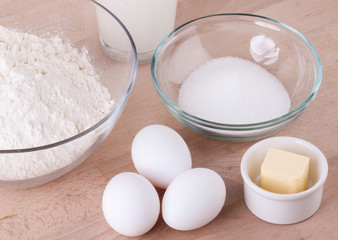 Baking ingredients in the kitchen