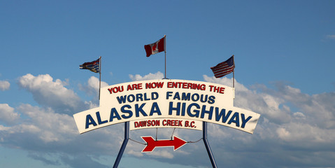 Alaska Highway sign (mile 0) in Dawson Creek