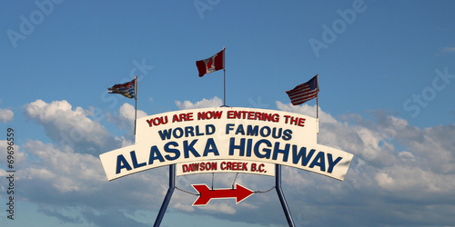 Alaska Highway sign (mile 0) in Dawson Creek - 69696559