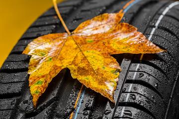 Autoreifen mit ahorn herbst blatt und regen
