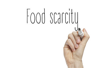Hand writing food scarcity