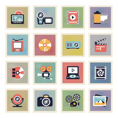 Photo & video modern color icons.