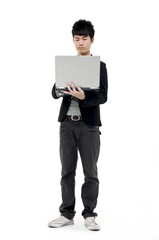 Full body young Business man With Laptop