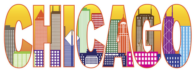 Chicago City Skyline Color Text Vector Illustration