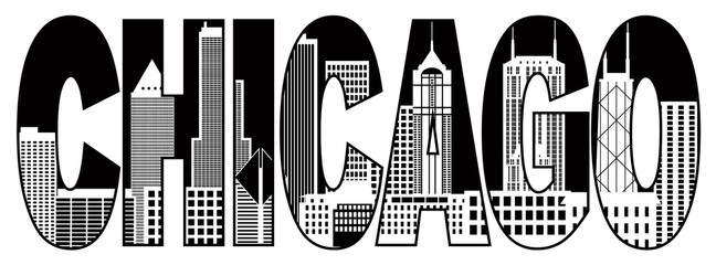 Chicago City Skyline Black and White Text Vector Illustration
