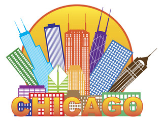 Chicago City Skyline Color in Circle Vector Illustration