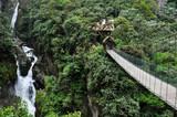 Fototapety Suspended bridge in Banos Santa Agua, Ecuador