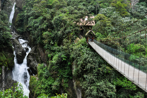 Foto op Canvas Zuid-Amerika land Suspended bridge in Banos Santa Agua, Ecuador