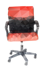 Polygonal style of red and black chair on white