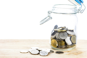coin into glass jars