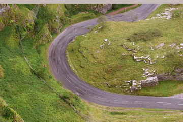 Tight road bend in Cheddar gorge, Somerset, England