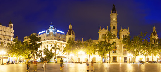Panoramic view of city hall at Placa del Ajuntament. Valencia