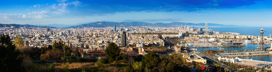 Panorama of Barcelona with Port