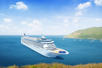 Three-Dimensional Shape of Cruise Ship Outdoors