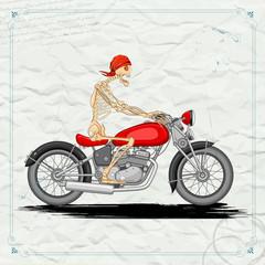 Skeleton riding vintage Motorcycle
