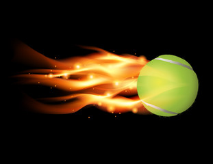 Tennis Ball on Fire Illustration
