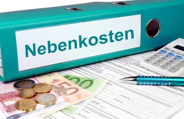 Nebenkostenordner mit Geld und Taschenrechner, türkis