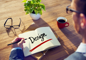 Businessman with Note About Design Concepts