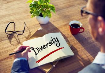 Businessman Writing the Word Diversity