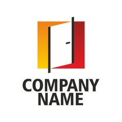 Red-orange logo doors company