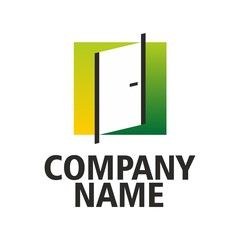 Green-yellow logo doors company