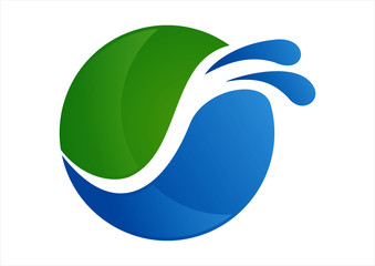 Ecology circle leaves and water splash logo design
