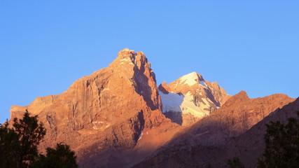 Dawn in mountains. Zoom. Pamir, Tajikistan. 4K
